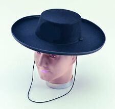 Black Felt Zorro Cowboy Wild Western Hat Fancy Dress Costume Adult NEW P4889