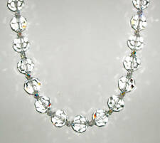 Beautiful Stunning Necklace Made with Large Round Swarovski Clear Crystals