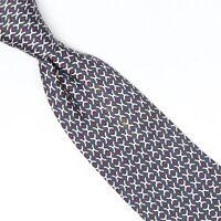Hermes Paris Mens Silk Necktie Blue White Red H Print 7031 TA Bergdorf Goodman