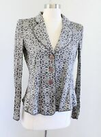 Armani Collezioni Gray Floral Lightweight Knit Blazer Jacket Size 6 *FLAWED