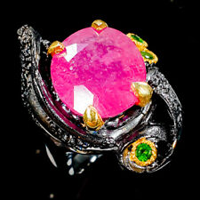 Handmade21ct+ Natural Ruby 925 Sterling Silver Ring Size 8/R106632