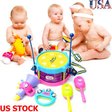 5pcs Kids Baby Roll Drum Musical Instruments Band Kit Children Toys Set US STOCK