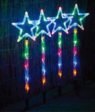 4 PIECES 60 LED MULTI COLOUR STAR SOLAR CHRISTMAS GARDEN LIGHTS