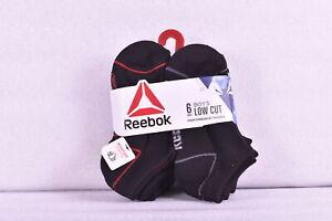 Youth Boy's 6-Pair Reebok Low Cut Performance Socks, Black - Choose Size