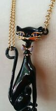 """KATE SPADE ♤ NEW YORK """"JAZZ THINGS UP"""" PAVE BLACK CAT EARS NECKLACE $98"""
