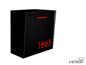 Modern Mailbox with Black Aluminum Face and Body with Red Acrylic numbers Type1