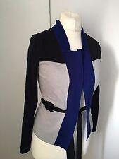 Karen Millen Blue Colour Block Wool Cardigan Belt KM 2 UK 10