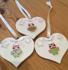 3 X Hanging Decorations Handmade Shabby Chic Heart Beautiful Owls Neutral Multi
