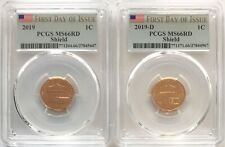 PCGS MS66 RD 2019 P&D Lincoln Shield Cent Penny 2 Coin Set FIRST DAY OF ISSUE 1C