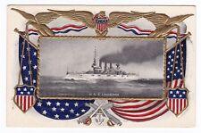 Military/Navy Battleship -USS LOUISIANA- Patriotic Embossed Postcard U.S.S.