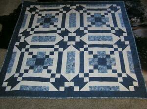 New! Handmade Patchwork Quilt Wall hanging Throw Blue/White 60x61 by Peterson