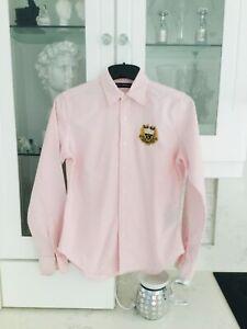 RALPH LAUREN SPORT pink & white striped shirt size S