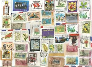 Trinidad and Tobago kiloware / on paper selection. 70+ stamps [TWO SCANS]