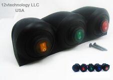 Triple Carcasa Impermeable Rocker interruptores SPST Marino Socket 12v Colores