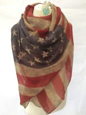 VINTAGE AMERICAN FLAG BROWN OVERSIZED SCARF STARS & STRIPES PRESENT GIFT WRAP