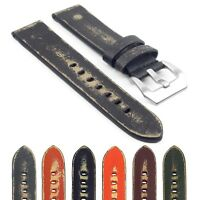 StrapsCo st13 Destroyed Thick Vintage Leather Watch Band Mens Distressed Strap