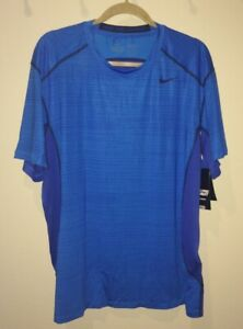 NIKE Hypercell Fitted Dri Fit Blue Glow Royal S/S Training Shirt NEW Mens Sz 2XL