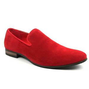 New Men's Red Suede Slip on Loafers Modern Dress Shoes Azar Man