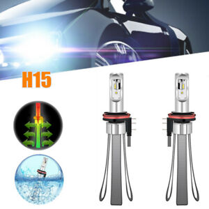 Pair Car Waterproof LED Headlight Bulbs Canbus Kit 6000K H15  40W Lighting Lamps