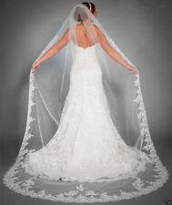 95v Bridal Embroidered Lace Floral Design White Wedding Veil w Comb