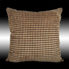 RARE SIMPLE BRONZE SOFT VELVET CHECKED DECO CUSHION COVER THROW PILLOW CASE 17""