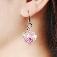 Glass Heart Spiral Flower Inlaid Pendant 28mm Ribbon Necklace Earrings Jewelry