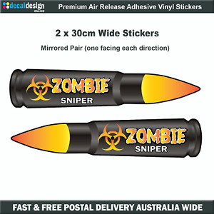 Zombie Hunting .308 Calibre Sniper Round Vinyl Decal Outbreak Sticker #Z007