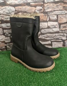 Women's Winter Boots Black Fur Trim Size UK 6 New Free P&P