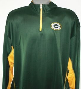 NEW Mens Team Apparel Green Bay Packers NFL Synthetic 1/4 Zip Football Pullover
