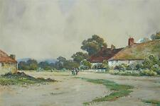Pittoresque Anglaise Village Aquarelle c1910 Ddley Ward (19 / 20thC Britanique