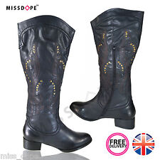 NEW BLACK COWBOY WOMENS BLOCK CUBAN BOOTS MID HEEL ZIP RIDING KNEE BIKER LADIES