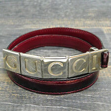 GUCCI Silver Plated Logo Buckle Enamel Burgundy Red Leather Belt #1960be Rise-on
