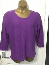 CC Purple Jumper Cable Knit Look Front Size XL See Measurements Fine Knit
