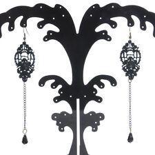 Black Lace Pearl Flower long chain Drop pendant Bridal Earrings ball jewelry