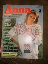 Anna - Burda Ouvrages Manuels N°3 1982 Bordures multicolores Patrons Filet brodé