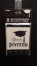 Graduation Invitations Cards White & Black cards & White Envelopes - Set of  8