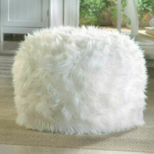 White Stylist Fuzzy Polyester Ottoman Pouf Gorgeous Side Table Home Décor