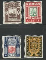Estonia Sc B36-39 1938 Coats of Arms charity stamp set mint