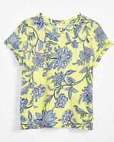 Ann Taylor LOFT Floral Garden Cotton Yellow Blue T Shirt BLOUSE Shirt TOP XL NWT