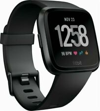 Fitbit Versa Aluminium Case Classic Buckle Black Smartwatch - (504GMBK)