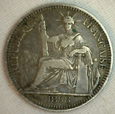 1898 French Indo China 10 Cents Coin VF France Colony KM# 9 Very Fine