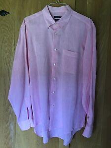 Italian Mens Linen Shirt, Pink XL
