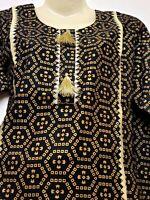 Shalwar kameez Pakistani Indian ladies stitched 2 piece suit linen size m black