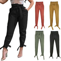 Women High Waist Bow-knot Bandage Loose Trousers Solid Color Casual Pants
