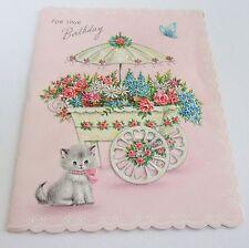Used Vtg Greeting Card Cute Kitten by Glittery Flower Cart & Butterfly