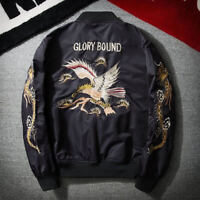 Men Fashion Embroidered Dragon and eagle Jacket Bomber Jacket Coat Outwear