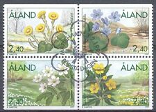 Aland Finland 1997 Used Block of 4 Stamps - Spring Flowers - First Day Cancel