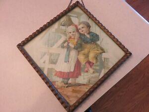 ANTIQUE VICTORIAN CHIMNEY FIREPLACE FLUE COVER DUTCH BOY & GIRL FRAME OLD GLASS