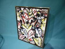 """1990s Signed """"Jean"""" Haitian village fruit market scene canvas painting Haiti Art"""