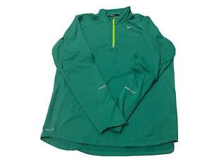 Men's -M- NIKE Dri-Fit 1/4 Zip Mock Running Shirt,element , Thumbholes